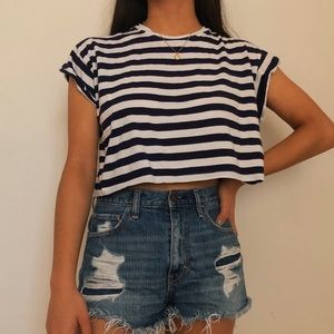 H&M Cuffed Navy Blue and White Crop Top